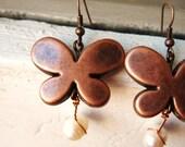 Butterfly kiss - dangle earrings  - freshwater pearls