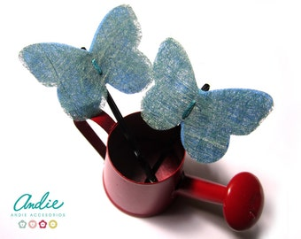 Set of 2 Felt and paper Buterflies Bobby pins -  Felt and Paper Butterflies Hair Accesories - Felt and Paper Butterflies hair clips