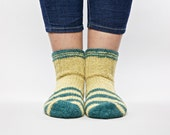 SALE 20 % Striped green hand knitted socks for unisex adults