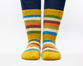 Colorful spring wool hand knitted socks for unisex adults gift under 40