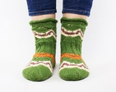 Green hand knit wool socks for women