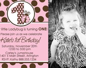 Ladybug First 1st Birthday Invitation Girl Digital Invitation AND Address Label Pink Brown Polka Dots YOU PRINT Invite Custom