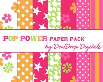 SALE Digital Paper Pack Scrapbooking INSTANT DOWNLOAD Pink Orange Green Tropical Summer Fun Flower Power Scrapbook Papers Kit