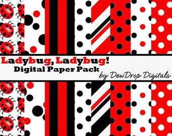 SALE Digital Paper Pack Ladybug ScrapbookingRed Black INSTANT DOWNLOAD White Scrapbook Papers Kit Lady bug ladybugs
