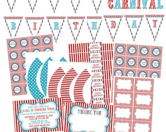 Carnival Circus Printable Party PACKAGE Complete Vintage Blue White Red Girl or Boy damask personalized Invitation