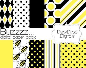 SALE Digital Paper Pack Yellow Black Bee Baby Shower Scrapbooking INSTANT DOWNLOAD White Scrapbook Papers Kit Bee Buzz