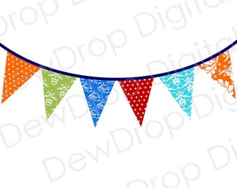 SALE Clip Art Bunting Banner Digital Clipart Commercial or Personal Use INSTANT DOWNLOAD blue green turquoise red Damask Polka Dots Clip Art