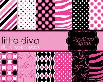 SALE Digital Paper Pack Diva Zebra Scrapbooking INSTANT DOWNLOAD Scrapbook Papers Kit pink black white punk girl teen tween polka dots