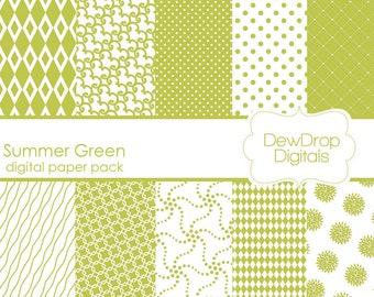 SALE Digital Paper Pack Green Scrapbooking INSTANT DOWNLOAD White Summer Scrapbook Papers Kit dahlia polka dots pages