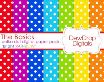 SALE Digital Paper Pack Polka Dots Rainbow Scrapbooking INSTANT DOWNLOAD Fun Red Green Blue Yellow Purple papers Basics