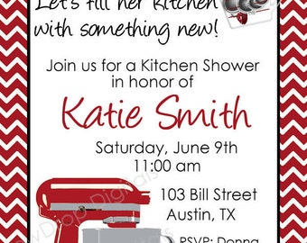 Kitchen Bridal Wedding Shower Invitation Mixer Digital Personlized YOU PRINT Invite Bride Groom Couples