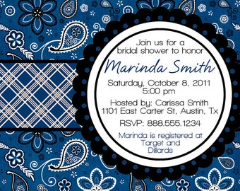 Western Bandana Paisley Bridal Wedding Shower Invitation Digital File Bride DIY YOU PRINT Invite Blue or Red Black Rustic