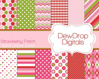 SALE Digital Paper Pack Strawberry Scrapbooking INSTANT DOWNLOAD Scrapbook Papers Kit Strawberry Shortcake green pink white polka dots red