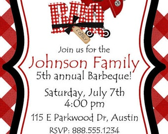 BBQ Invitation Birthday Party Block Neighborhood Printable Invitation Personalized Digital Invite Barbeque Picnic