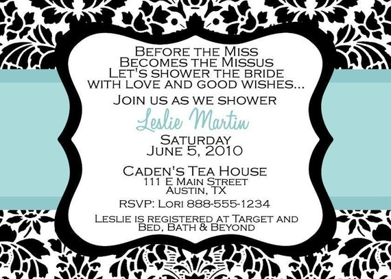 Bridal Wedding Lingerie Shower Invitation Printable Includes matching address label Digital Personalized Damask Bride Brunch Invite