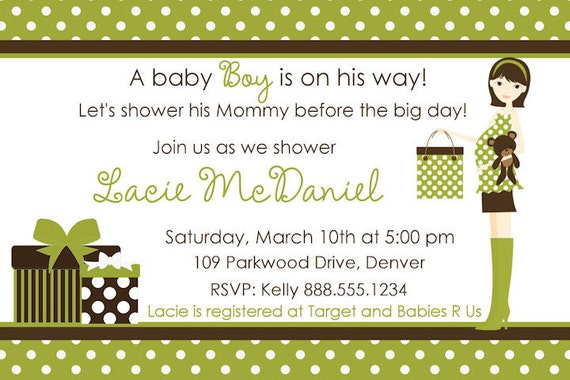 Baby Shower Invitation Boy Girl Green Brown Personalized Digital Invite Mommy Silhouette Mod Polka Dots YOU PRINT