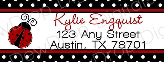 Add-on Matching Ladybug Address Labels Design YOU PRINT matches our Lady Bug invitation Baby Shower 1st Birthday
