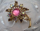 Vintage Costume Jewelry WEISS Signed Flower Brooch Pin Pink Glass Center with Swarovski Aurora Borealis and Amethyst Rhinestones Gold-Toned Setting
