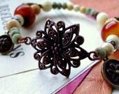 Gemstone Copper Bracelet Vintage Boho Gypsy charm bone lucite