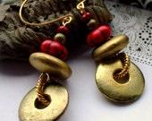 Gold and Red Hoop Earrings Gemstone Crystal Metal Salvage Gold Dust Orbit