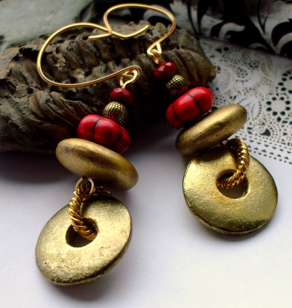 Gold and Red Hoop Earrings Gemstone Crystal Metal Salvage Gold Dust Orbit
