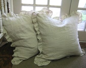 """Pair of 2"""" Ruffled 22x22 Shams in Washed Oatmeal Linen"""