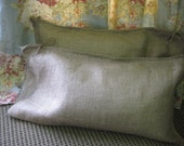 Pair of Rustic Natural Burlap Pillow Case Shams----Size 12x24