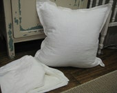 3 Washed White Linen Tailored Pillow Shams-3 Washed Linen Pillow Covers-18x18-20x20-22x22-24x24-EURO SHAM 26X26