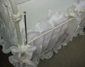 Ruffled Nursery Bedding - Washed Linen - Open Weave Vintage White - Ruffled Bumpers - Ruffled Crib Skirt - Custom Crib Linens