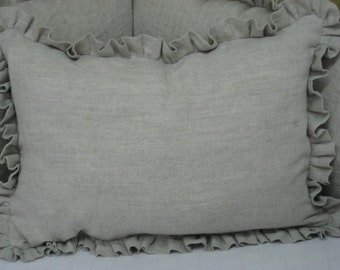 """Ruffled Crib Pillow Sham in Washed Linen-Your Color Choice-12x16 Pillow Cover with 1"""" Ruffled Edge-Removable Pillow Insert Included"""