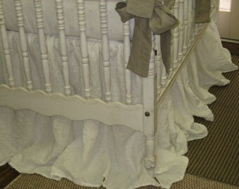 Storybook Style Cribskirt in Washed Linen--Vintage White Washed Linen Extra Long Length