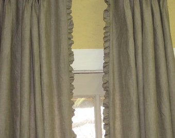 Linen Drapery Panel-Single Width Linen Drape-Ruffled Linen Drapery Panel-Pleated Linen Drapes with Ruffled Edge-Custom Linen Drapery Panels