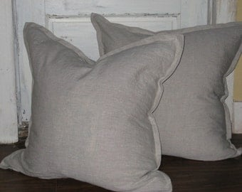 Pair of Tailored Pillow Shams in Washed Linen or Burlap-Your Choice-Zip Closure -One Pair