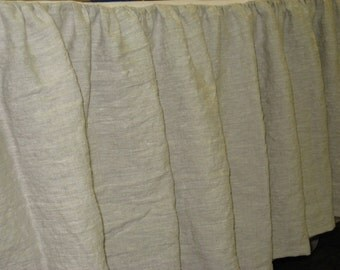 """Bed Skirt in Washed Linen-20"""" Length-Optional Sizes and Linen Colors Available-Made to Order---Gathered Bed Skirt in Washed Linen"""