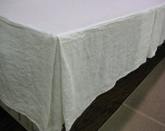 Tailored Bedskirt in Washed Linen-Washed Linen Bed Skirt-Pleated Bed Skirt-Casual Tailored Bed Skirt-Size Options-Your Requested Linen Color