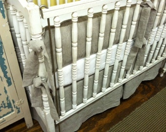 Tailored Casual Crib Bedding in Washed Natural Flax Linen-Medium Weight-Tailored Skirt Option