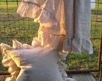 """Washed Oatmeal Lightweight Linen Crib Skirt and 20"""" Ruffled Pillow Sham-Bumperless Crib Bedding"""