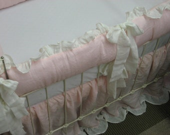 "Heirloom Style Linen Nursery Bedding-2"" Ruffled Crib Bumpers - 2""Ruffled Crib Skirt - Crib Duvet and Insert"