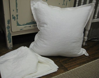 2 Washed White Linen Tailored Pillow Shams-2 Washed Linen Pillow Covers-Your Requested Size-Bright White or Vintage White Washed Linen