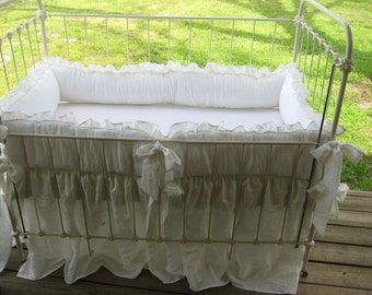 "Ruffled Washed White Handkerchief Linen Nursery Bedding-2"" Finished Double Edge Ruffled Bumper/Gathered Cribskirt"