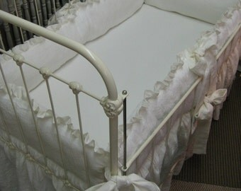 Cottage Style Vintage White Ruffled Nursery Bumpers-Ruffled Crib Skirt in Oatmeal and Vintage White Washed Linen