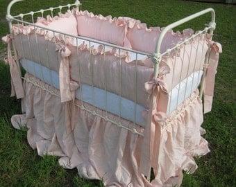 "Ballet  Pink Handkerchief  Linen 2"" Ruffled Nursery Bedding - Sash Ties - Extra Long Storybook Crib Skirt"