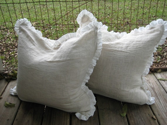 """Pair of 22 x 22 Pillow Slipcovers in Oatmeal Linen-1"""" Ruffled Detail"""