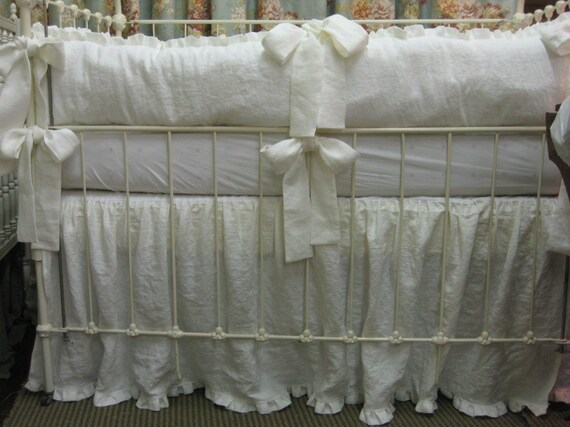"Reserved for Elizabeth - Washed Medium Weight White Linen Nursery Bedding-1"" Ruffled Bumpers and Crib Skirt"