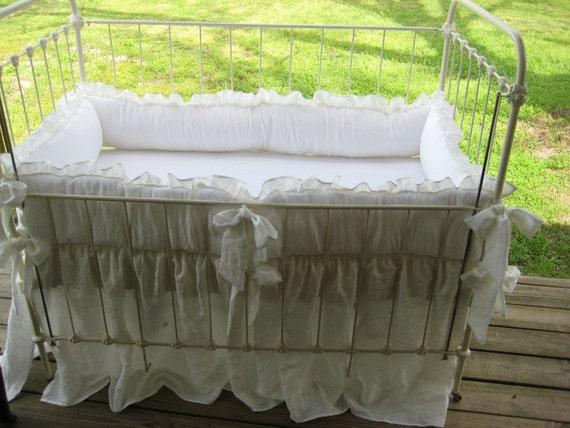"Ruffled Washed White Handkerchief Linen Nursery Bedding-2"" Finished Double Edge Ruffled Bumper/Gathered Cribskirt"