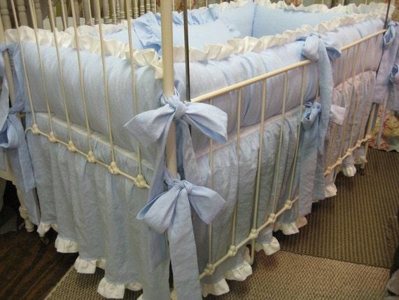 Ruffled Crib Bedding in Azure Blue and White-Crib Bumpers-Crib Skirt-Crib Pillow