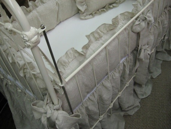 Washed Oatmeal Linen Nursery Bedding - Reserved for Jessica