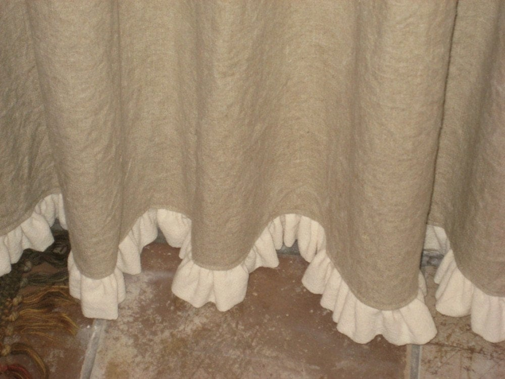 Ruffled Linen Shower Curtain by cottageandcabin on Etsy
