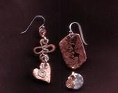 "Copper & Sterling Silver Earrings. ""Wild Woman Love"". Nice Lady Jewelry. Free Shipping"