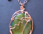 """Agate Pendant. Copper Trim. Nice Lady Jewelry. """"Wire My Agate"""". Free Shipping"""